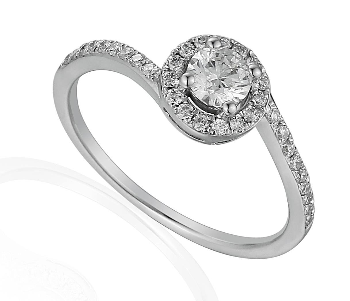 18ct White Gold Brilliant Cut Halo Design Ring with Diamond Set Crossover Shoulders-0