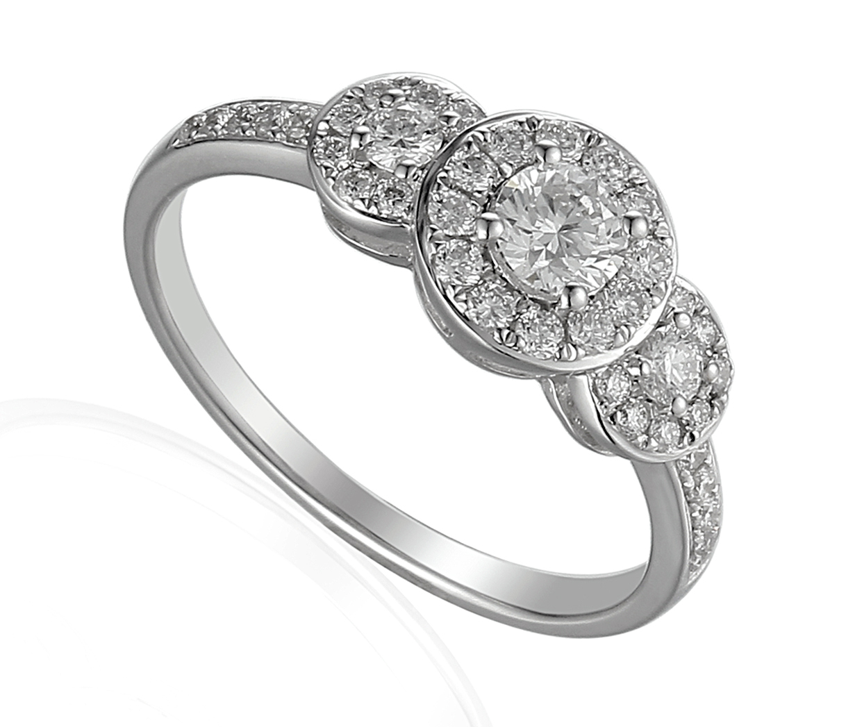 18ct White Gold Triple Cluster Diamond Ring with Diamond Set Shoulders-0