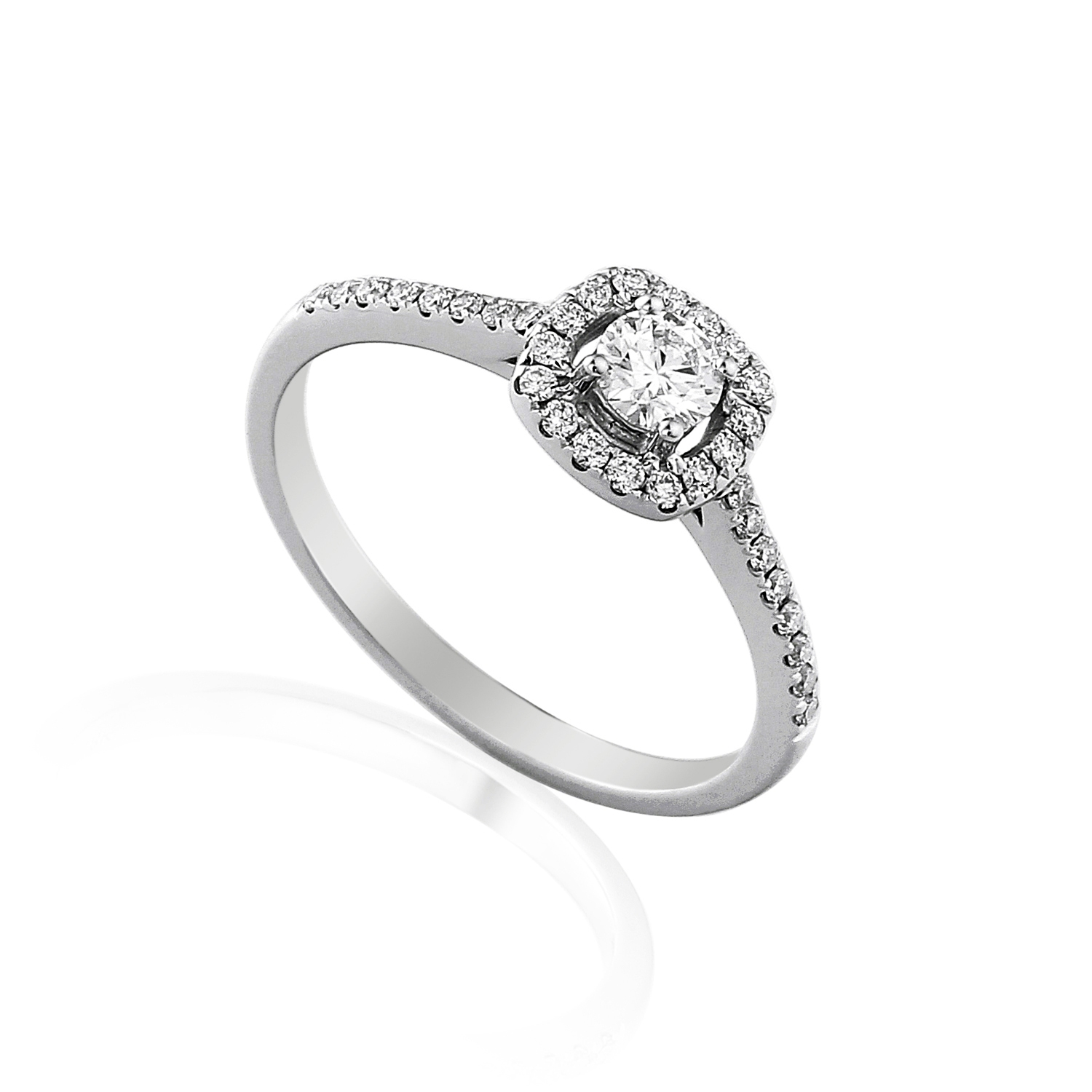 Brilliant Cut Diamond Ring with a Cushion Shaped Halo Surround-0