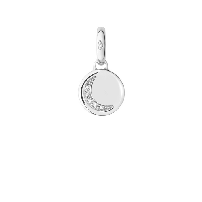 Links of London Silver and Diamond Crescent Moon Charm-0
