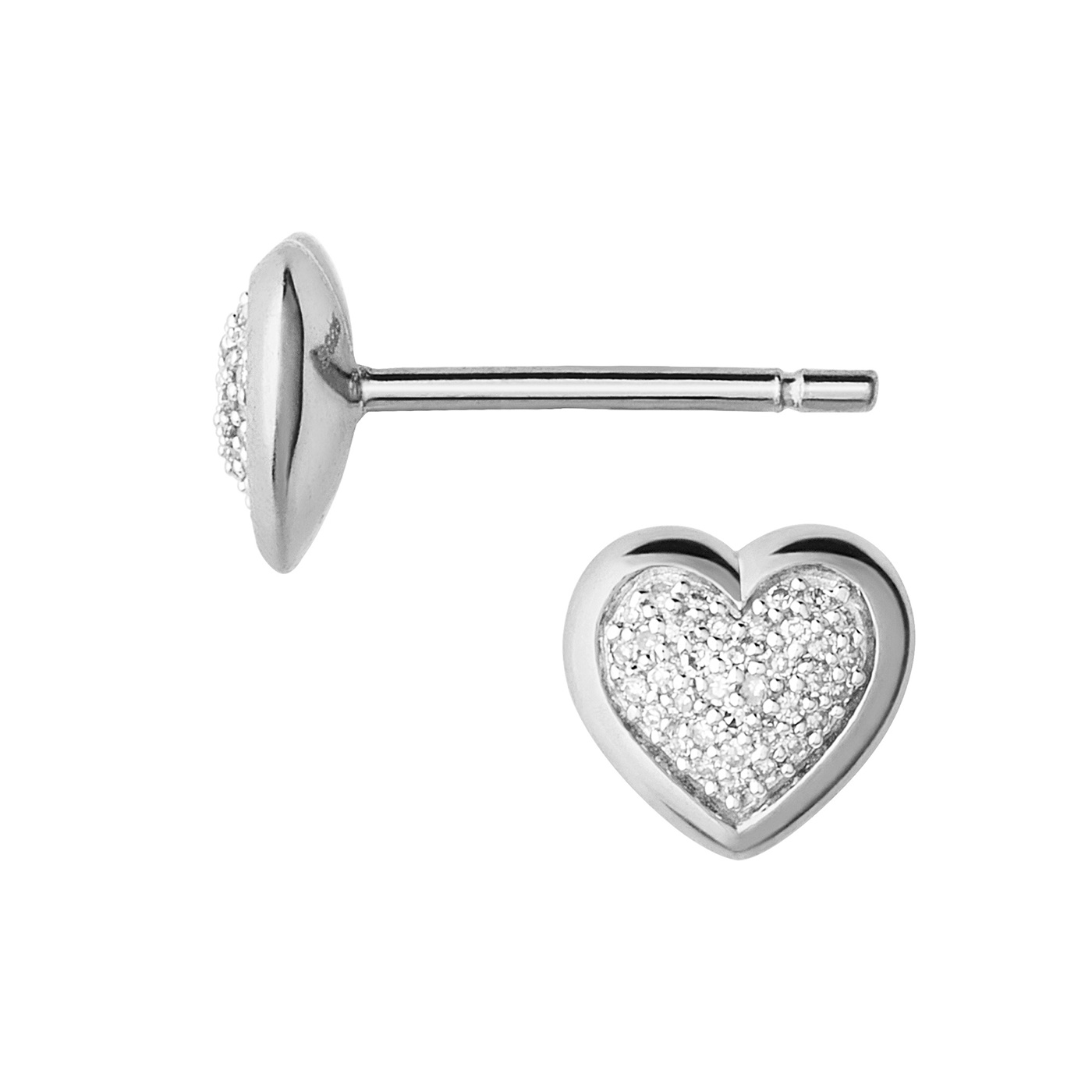 Links of London Essential Silver and Diamond Stud Heart Earrings-0