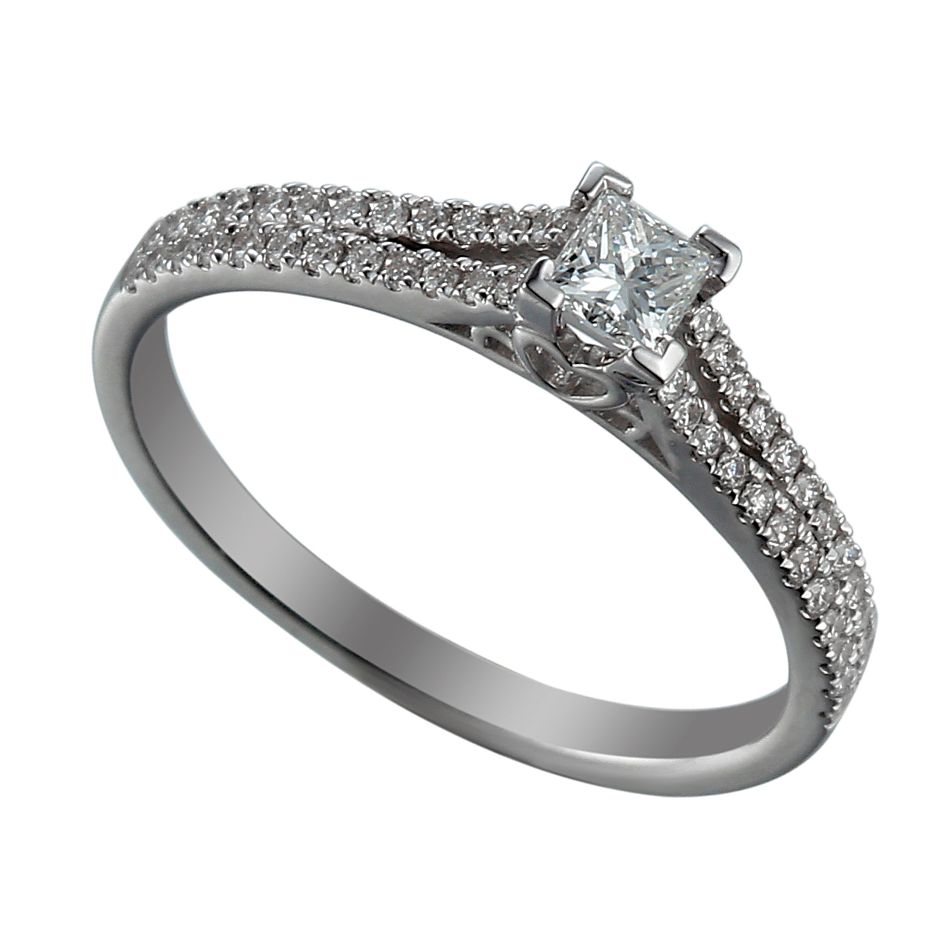 18ct White Gold Princess Cut Diamond Solitaire Ring with Diamond Set Shoulders-0