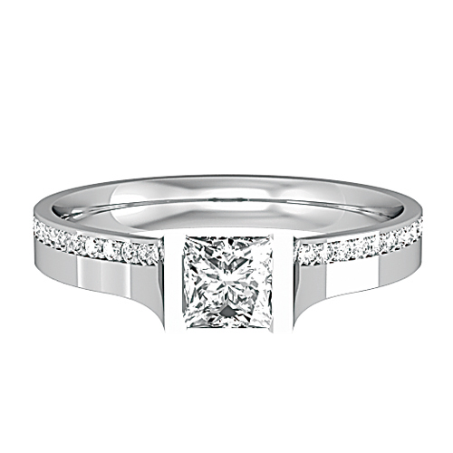 0.58ct Princess Cut Diamond with Diamond Set Shoulders-0