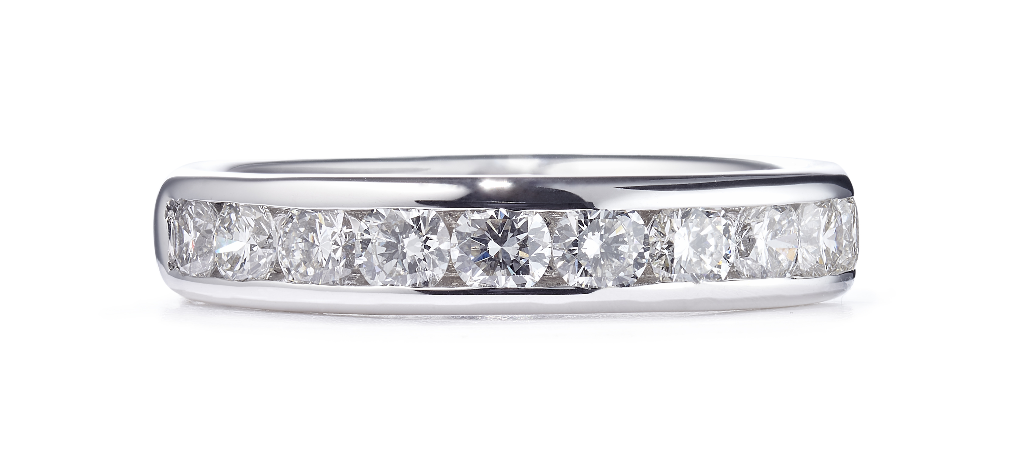 18ct Channel Set Ring With Brilliant Cut Diamonds