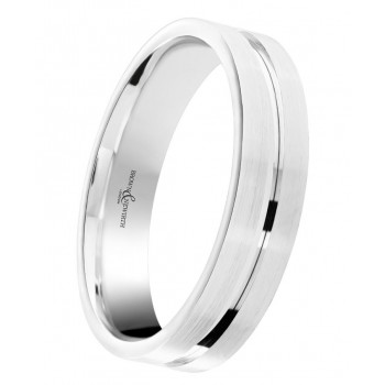 Palladium 5mm Wedding Ring With Matte Finish -0
