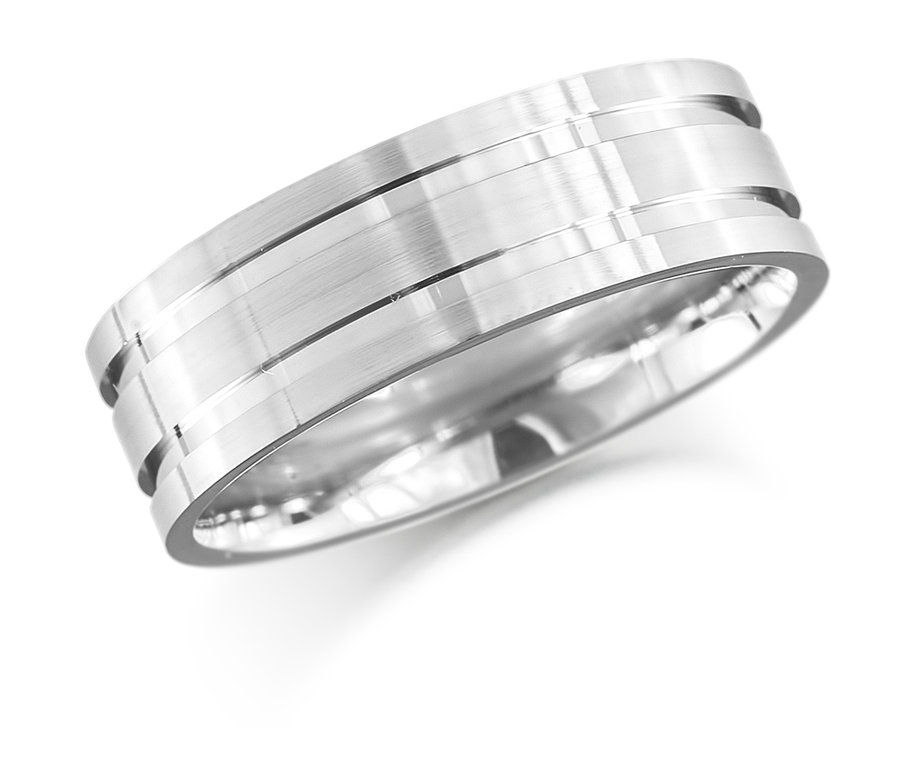 9ct 7mm White Gold Flat Wedding Ring -0