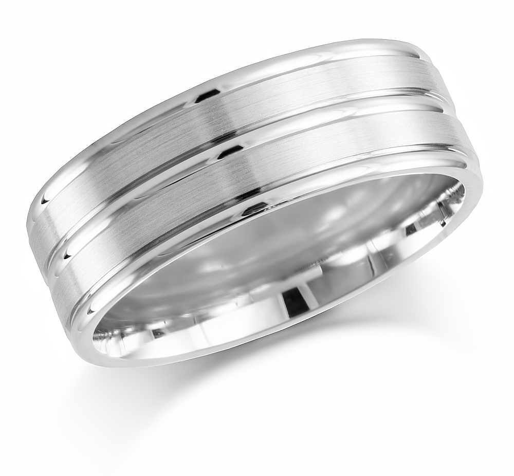 9ct 7mm White Gold Patterned Wedding Ring-0