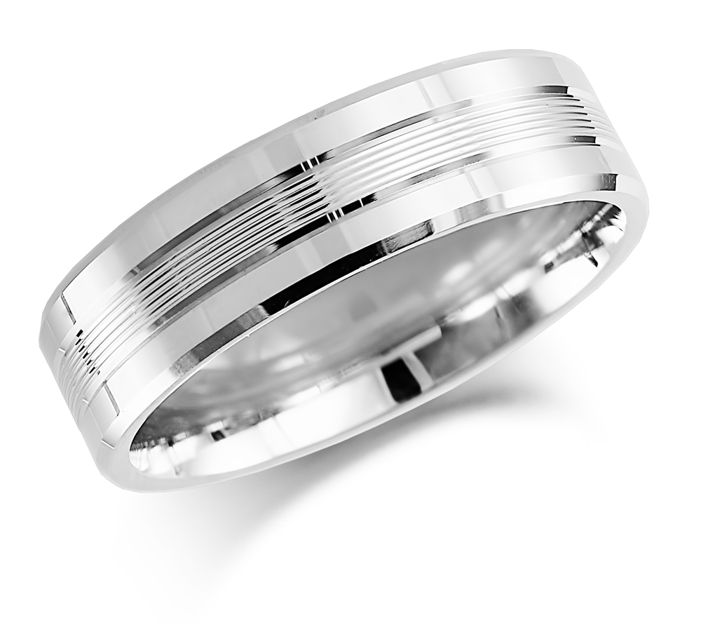 6mm 9ct White Gold Patterned Wedding Ring-0