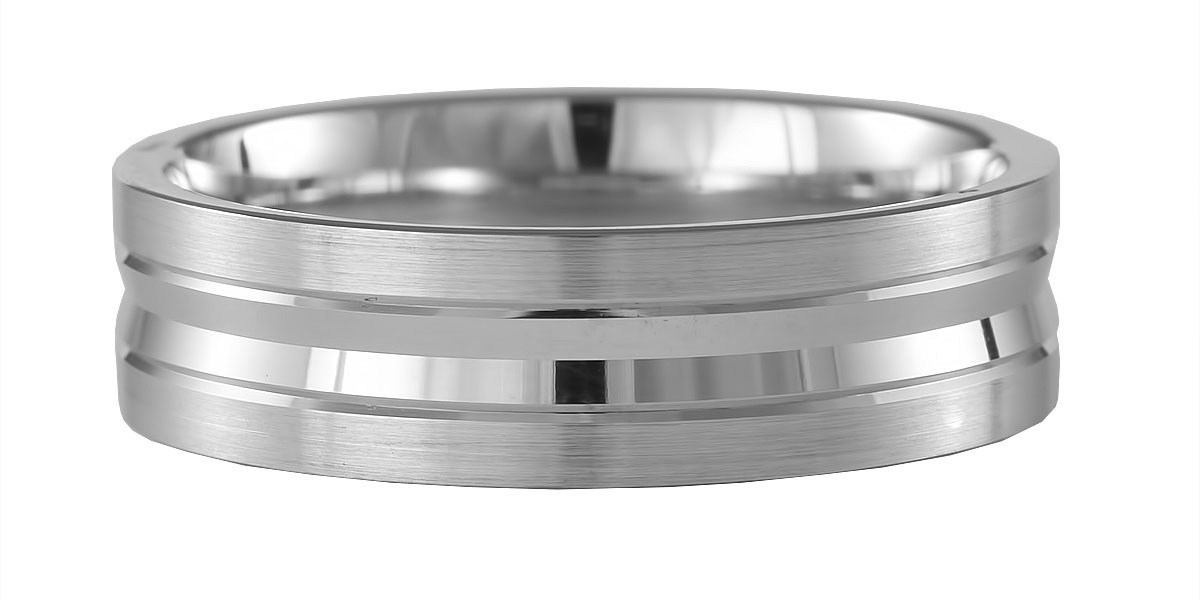 6mm Palladium 950 Matte and Polished Wedding Ring-0