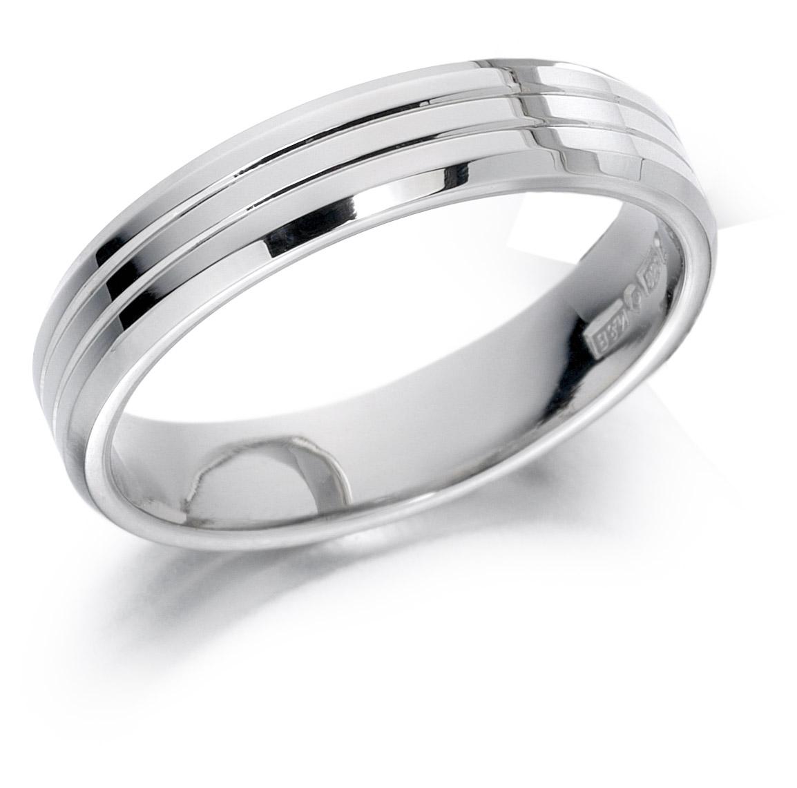 18ct 6mm White Gold Diamond Cut Wedding Ring-0