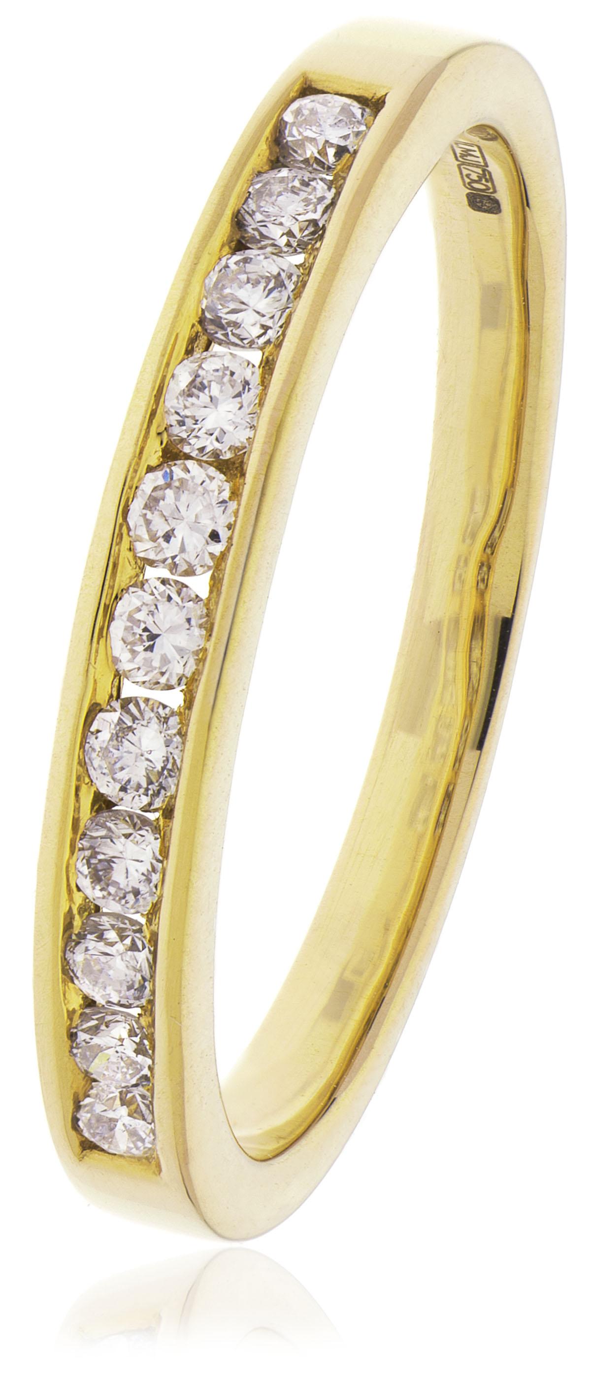 18ct Yellow Gold Brilliant Cut Diamond Half Hoop Ring-0