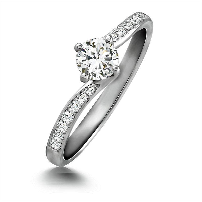 0.40ct 18ct White Gold Diamond Solitaire Ring with Diamond set Shoulders-0