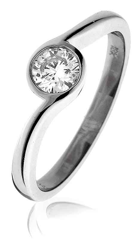 0.40ct Brilliant Cut Diamond Crossover Design Ring in 18ct White Gold-0
