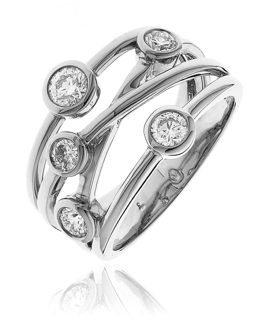 18ct White Gold Brilliant Cut Diamond Scatter Design Ring-0