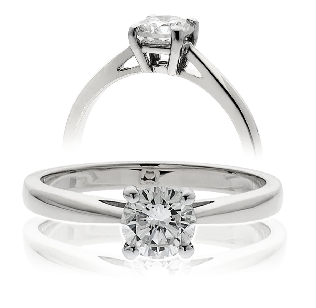 0.40ct Platinum Mounted 4 Claw Diamond Solitaire Ring-0