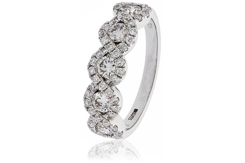 18ct White Gold Diamond Half Hoop Ring-0