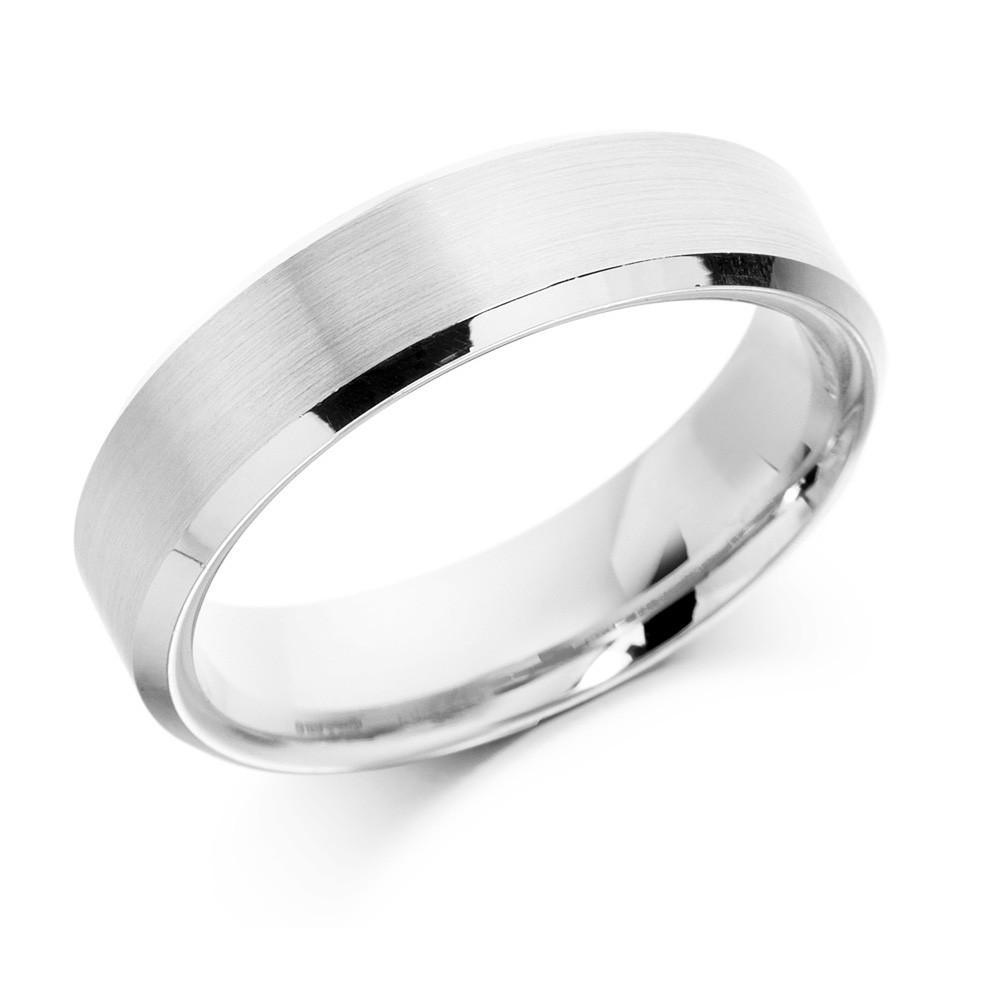 18ct 5mm White Gold Flat Top Wedding Ring-0