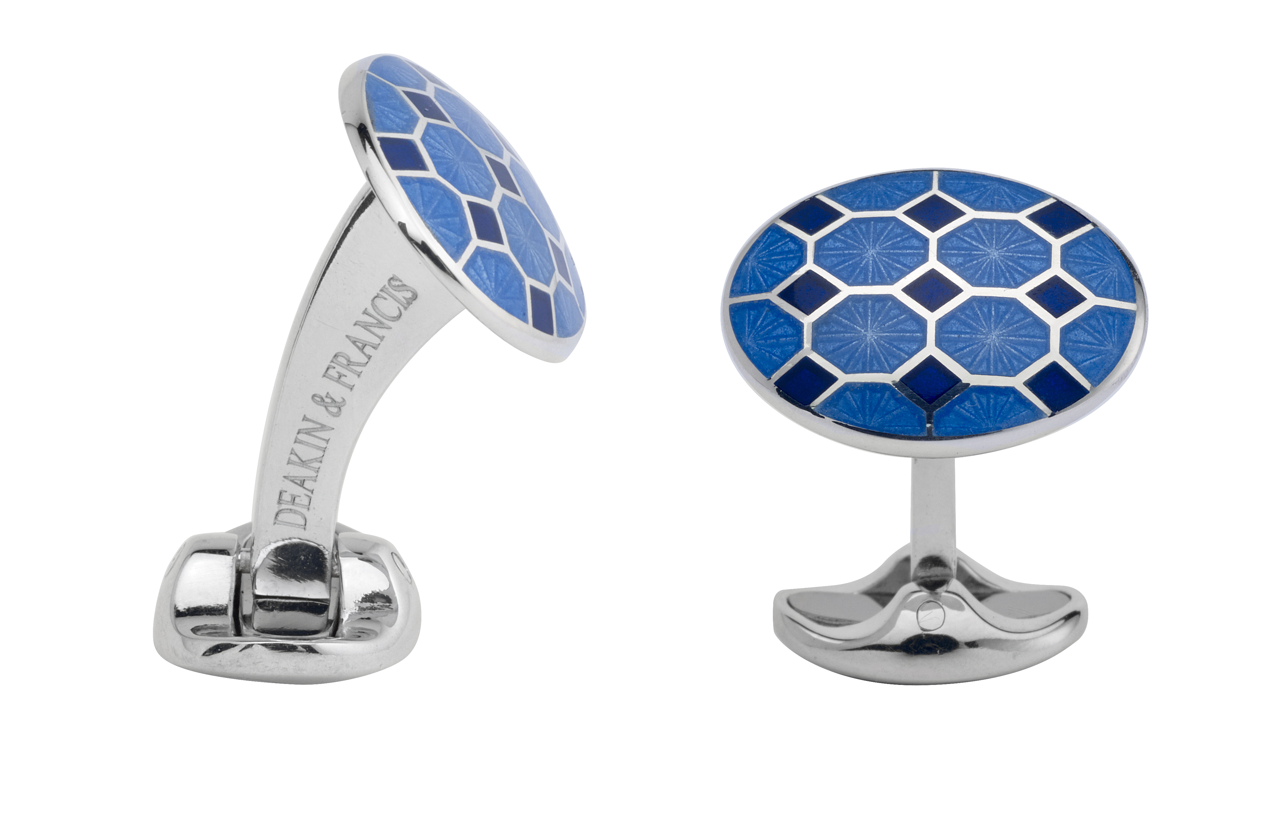 Sterling Silver Cuff Links with Dark and Light Blue Enamelling-0