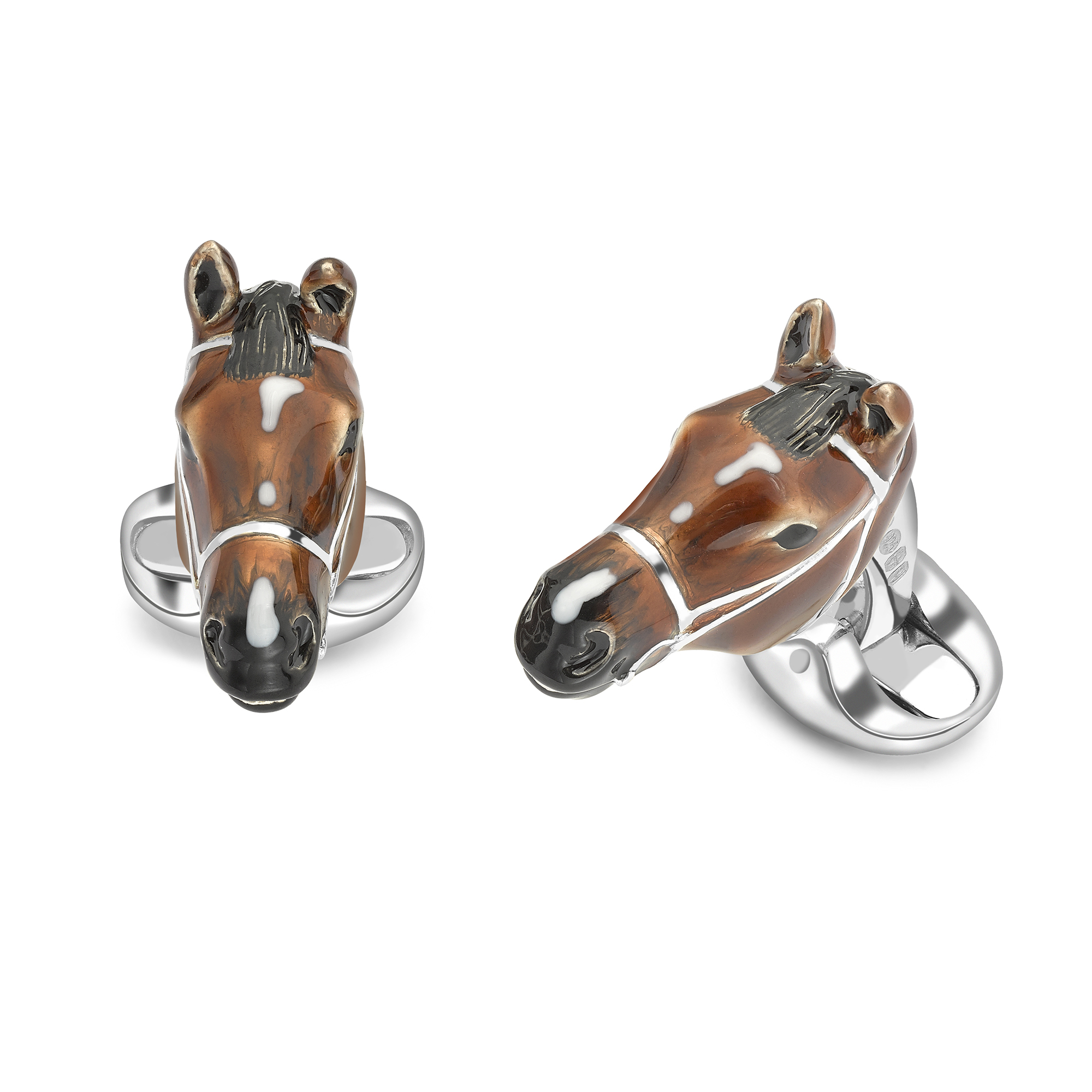 Enamel and Sterling Silver Horse Head Cufflinks-0