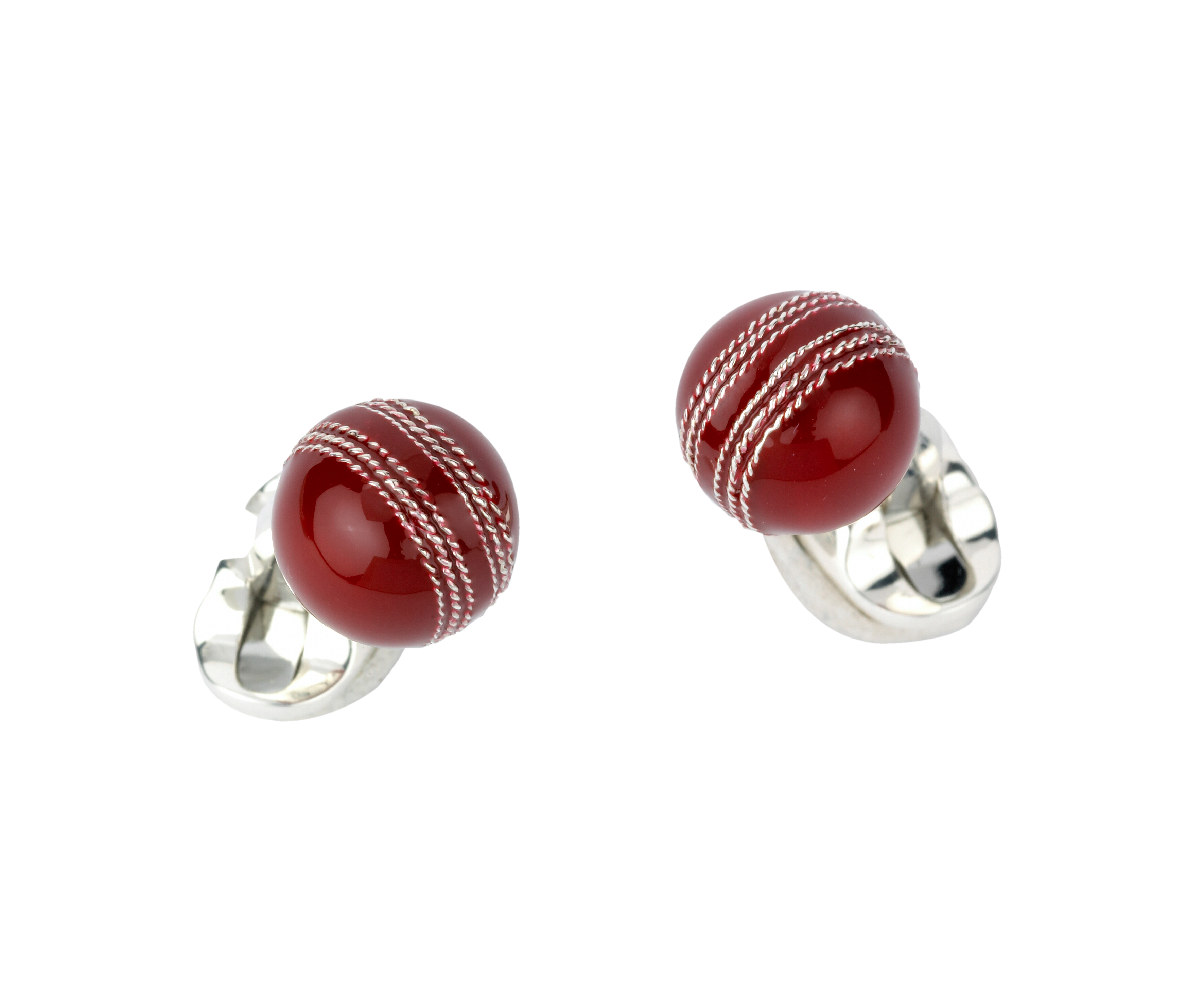 Sterling Silver and Enamel Cricket Ball Cufflinks-0