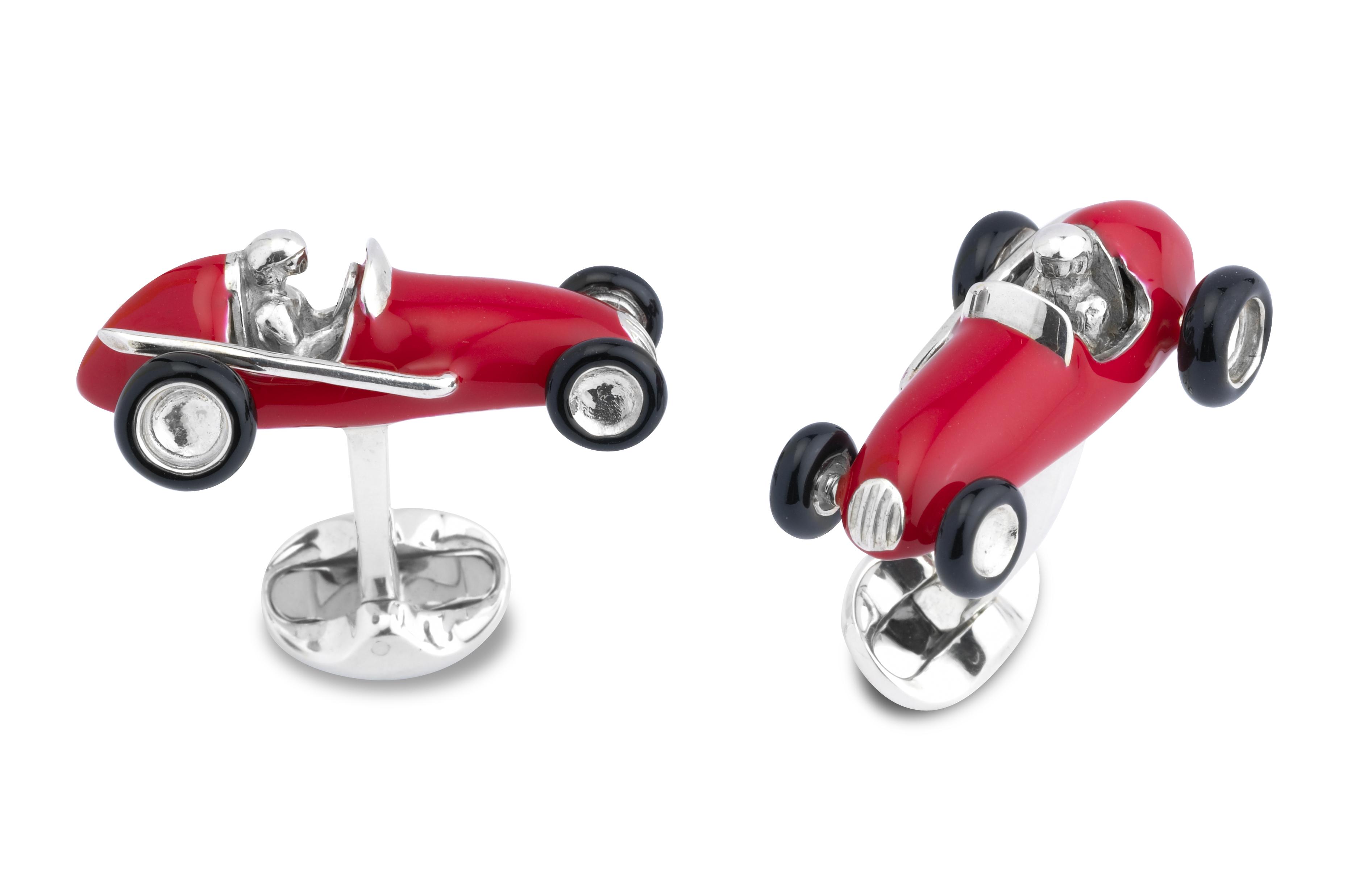 Sterling Silver Red Enamel Racing Car Cufflinks-0