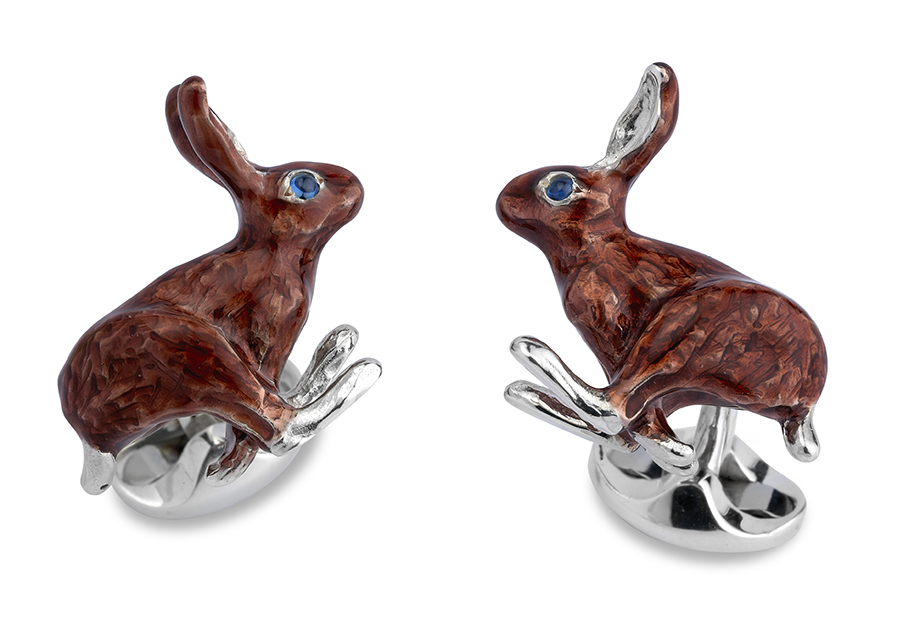 Sterling Silver, Enamel and Sapphire Hare Cufflinks-0