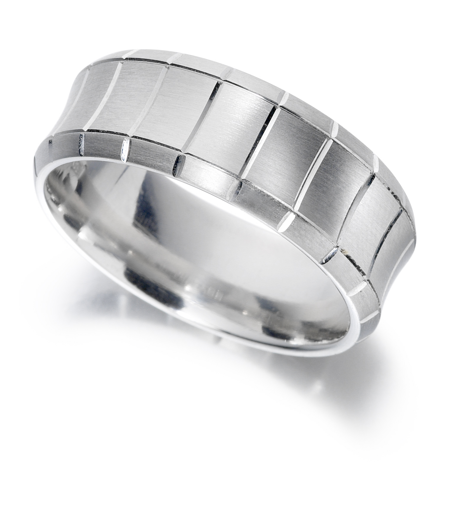 18ct 6mm White Gold Concave Matte Wedding Ring-0