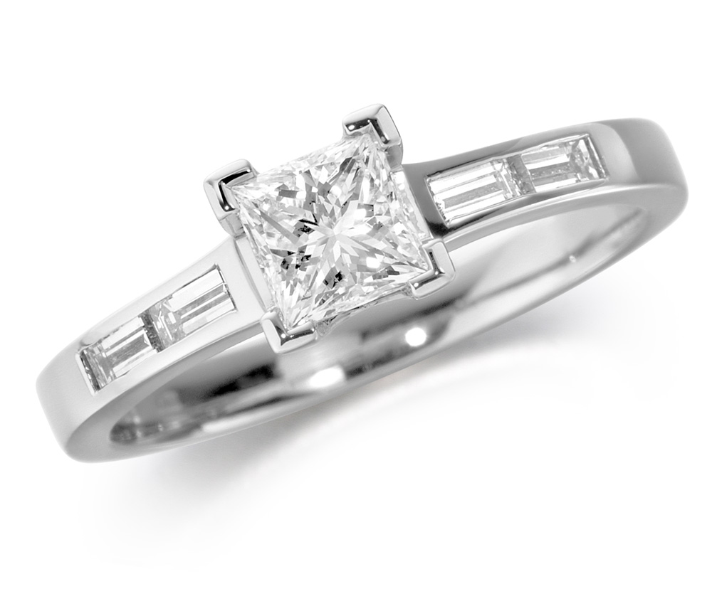 18ct White Gold Mounted Princess Cut Diamond Engagement Ring with Baguette Cut Shoulders