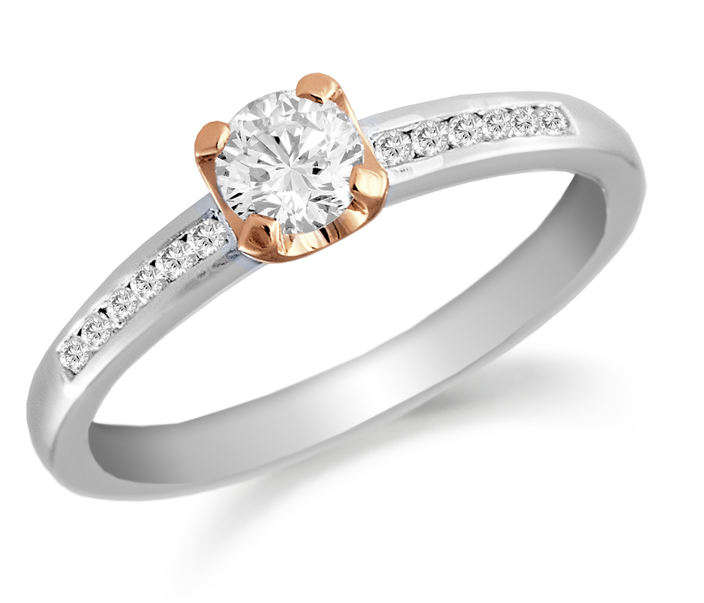 0.34ct 18ct White and Rose Gold Mounted Brilliant Cut Diamond Solitaire Ring-0