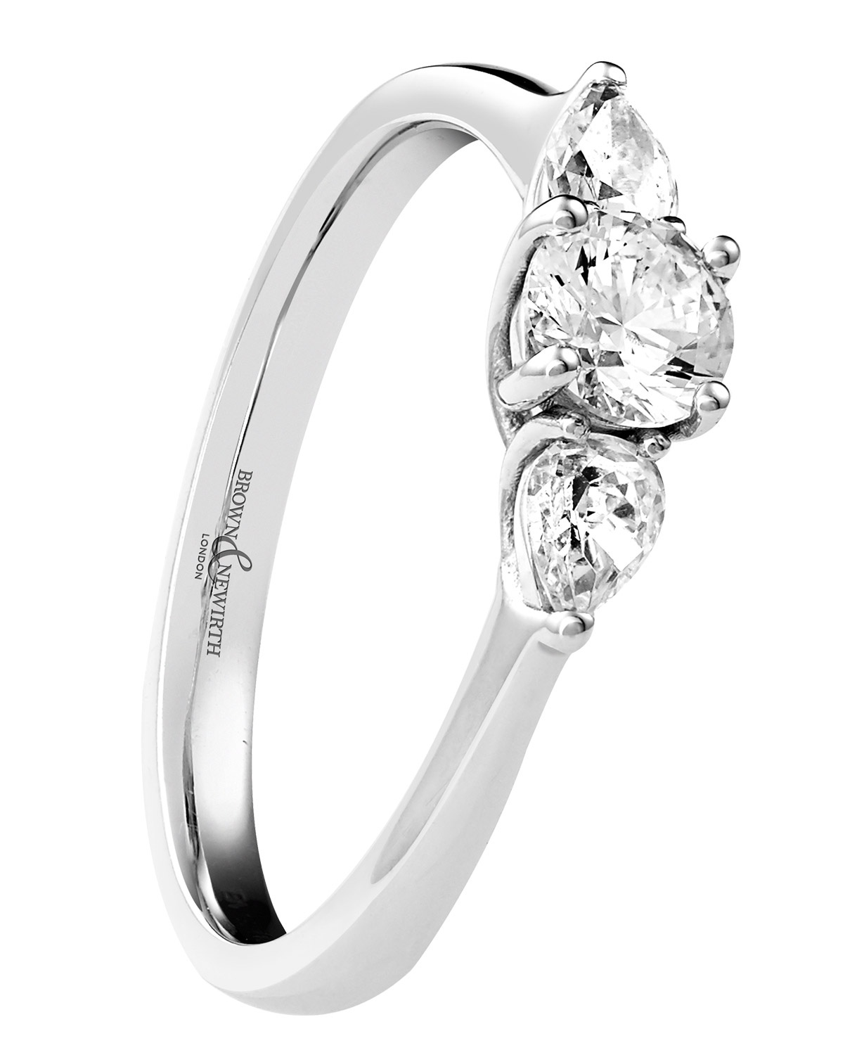 0.33ct 18ct White Gold Brilliant cut Diamond Ring with Pear Shaped Shoulders-0