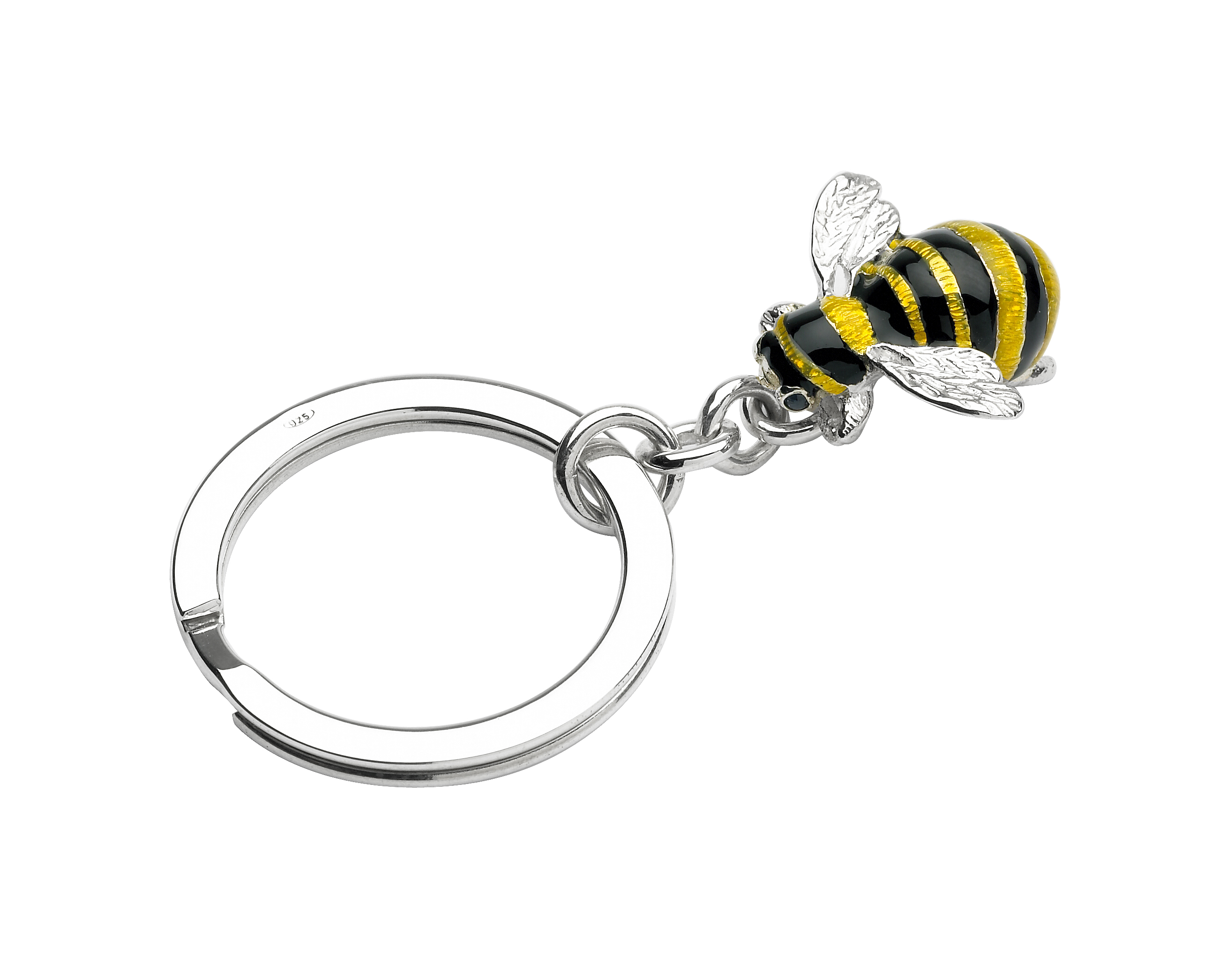 Sterling Silver, Enamel and Sapphire Bee Keyring-0