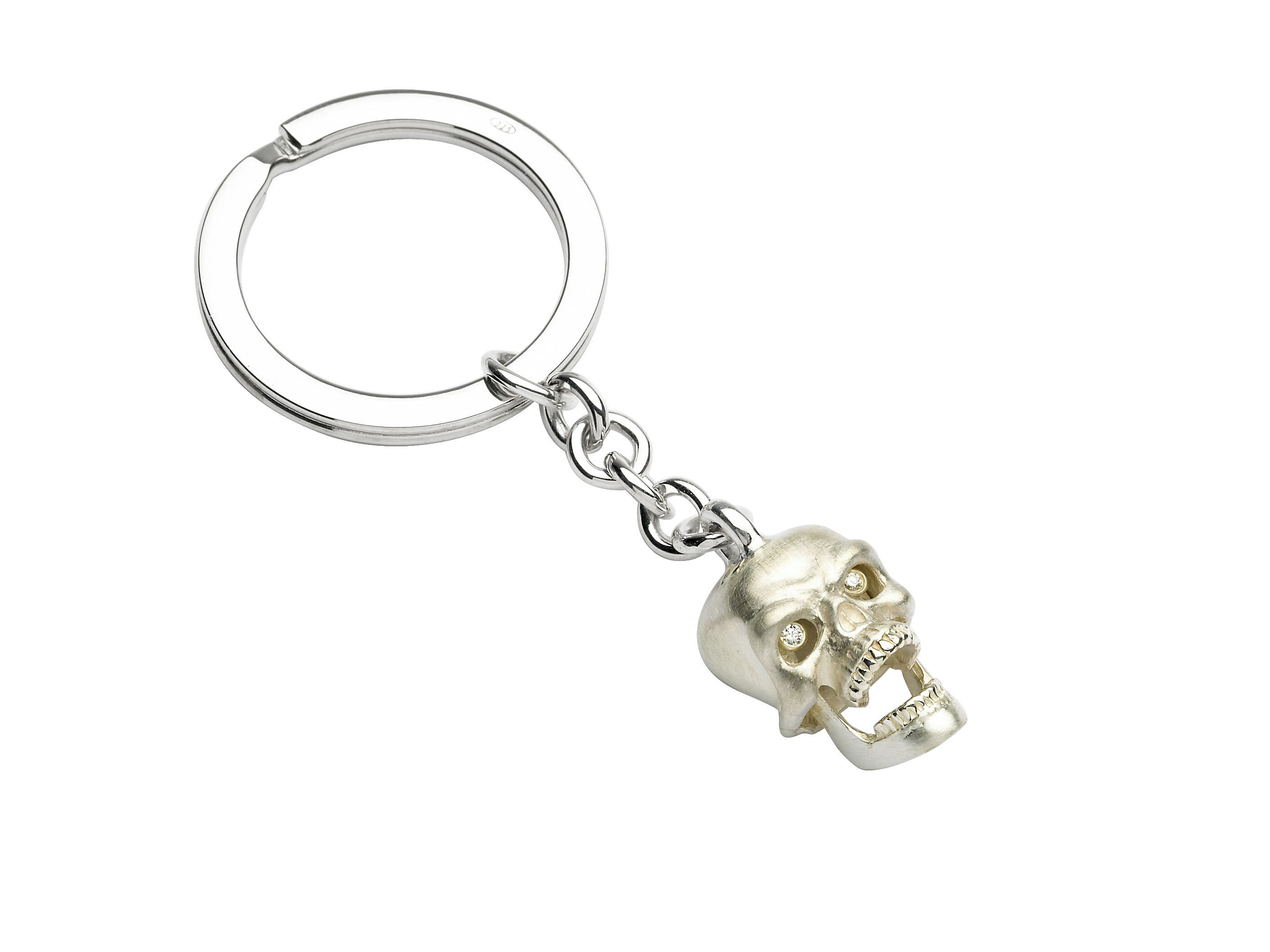 Sterling Silver and Diamond Skull Keyring-0