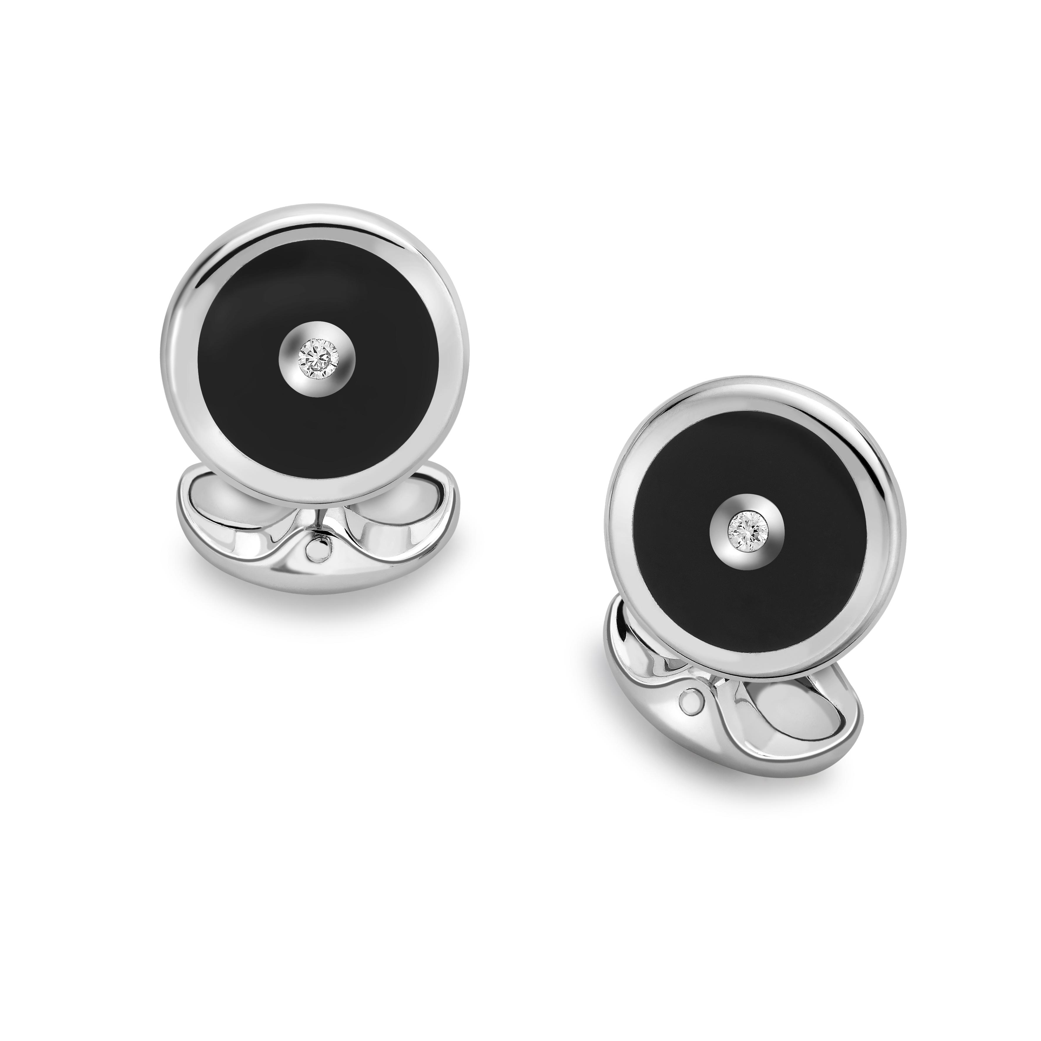 Sterling Silver, Onyx and Diamond Cufflinks-0