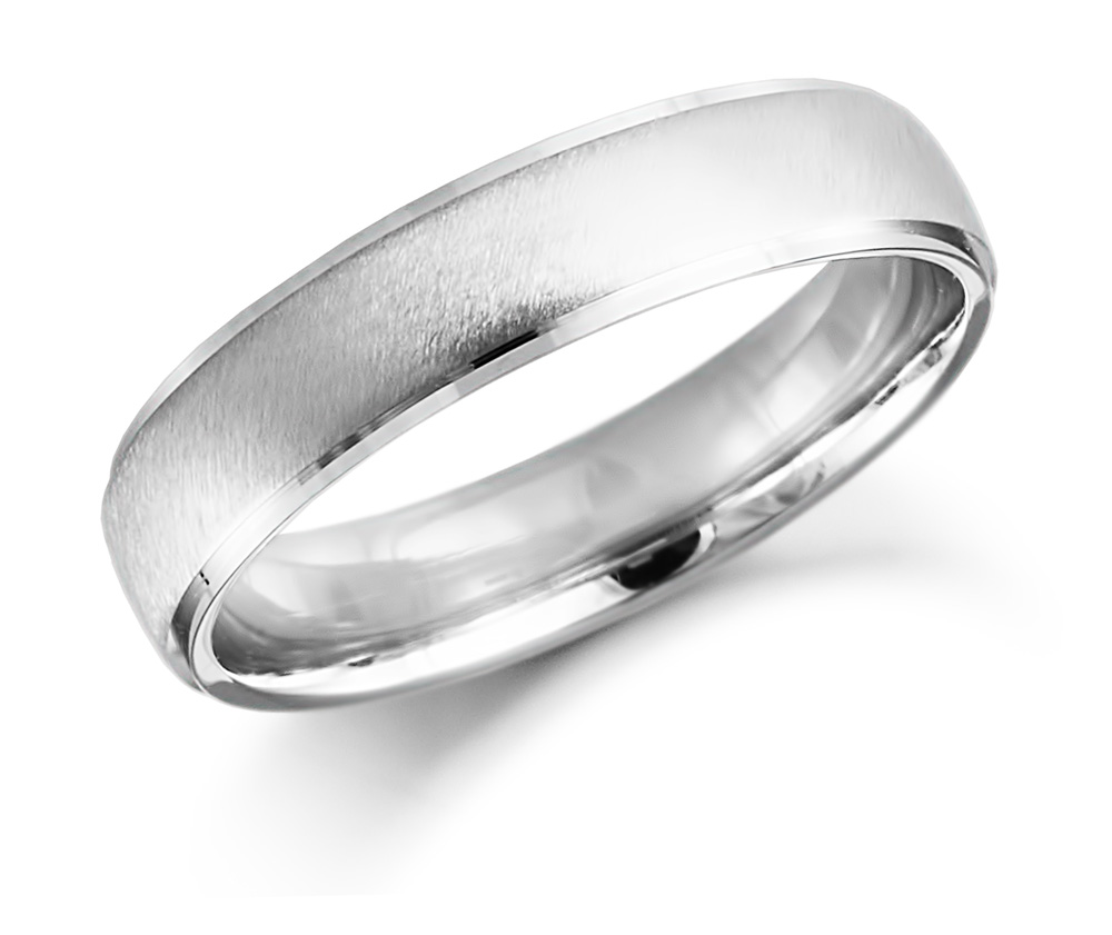 9ct 5mm White Gold Satin Finish Wedding Ring-0