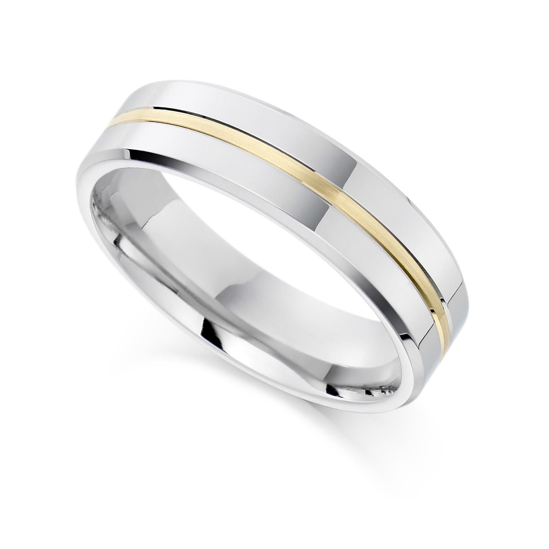 6mm Palladium and 18ct Yellow Gold Ring-0