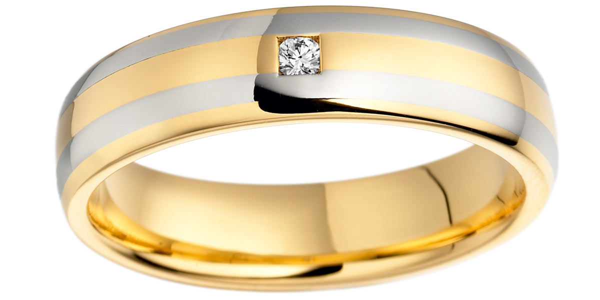 18ct and Platinum 5mm Diamond Set Wedding Ring-0