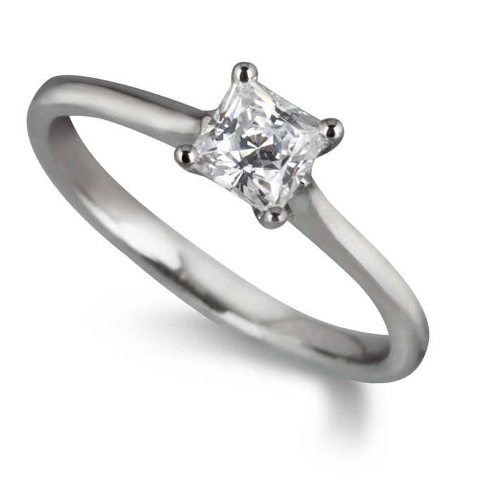 0.51ct Princess Cut Diamond Solitaire Ring