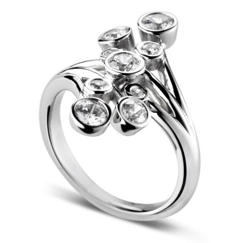 0.75ct 18ct White Gold Rubover Design Dress Ring-0