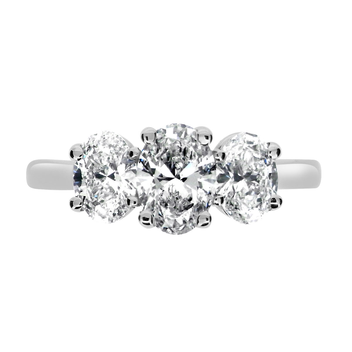 1.74ct Platinum Mounted Oval 3 Stone Diamond Ring