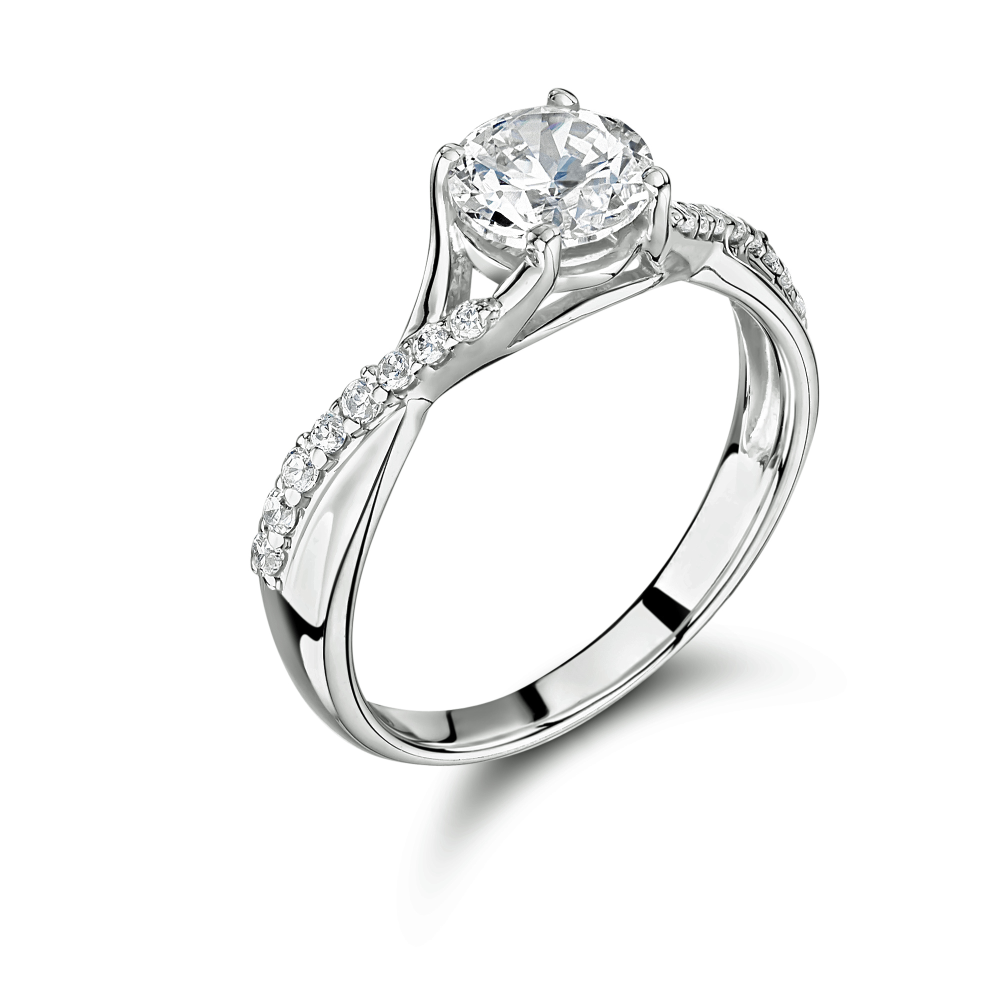 0.50ct 18ct White Gold Brilliant Cut Diamond Ring with Diamond Set Shoulders-0