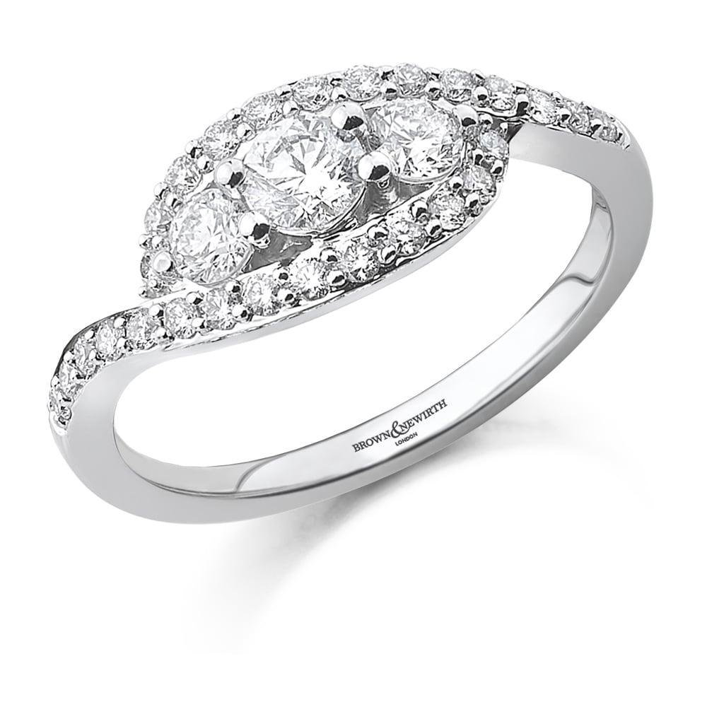 0.75ct Brilliant Cut 3 Stone Crossover Design Ring-0