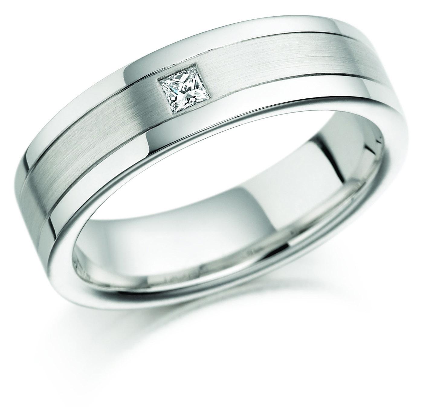18ct 6mm White Gold Diamond Set Wedding Ring-0