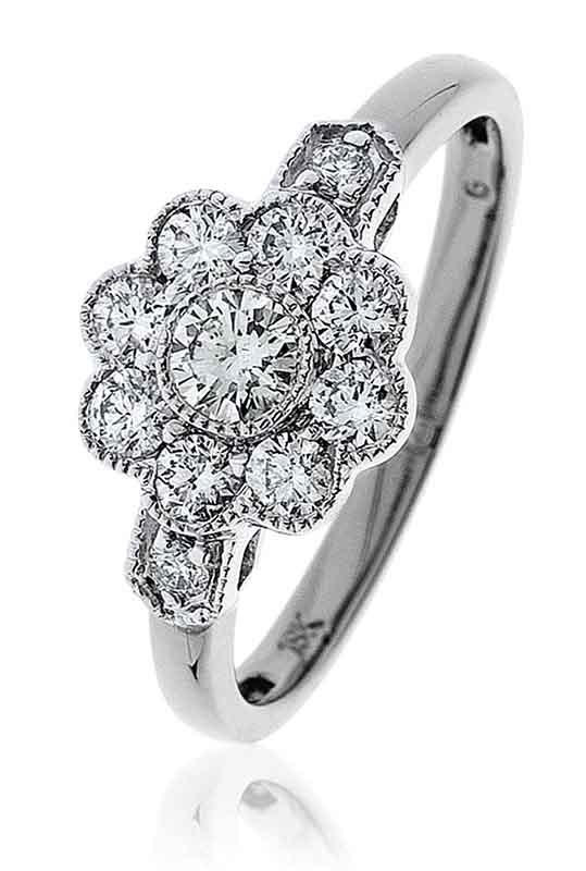 18ct White Gold Diamond Cluster Ring With Millgrain Design-0