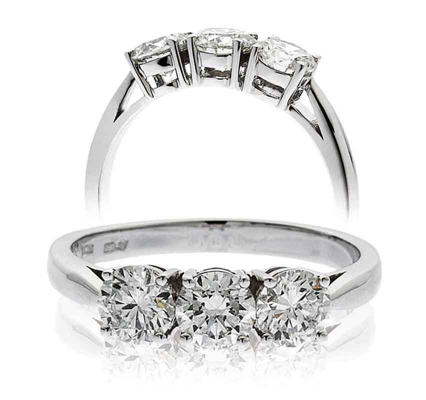 18ct White Gold Three Stone Diamond Ring-0
