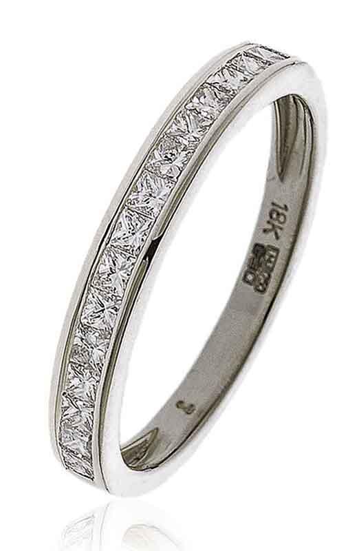 18ct White Gold Princess Cut Channel Set Half Hoop Ring-0