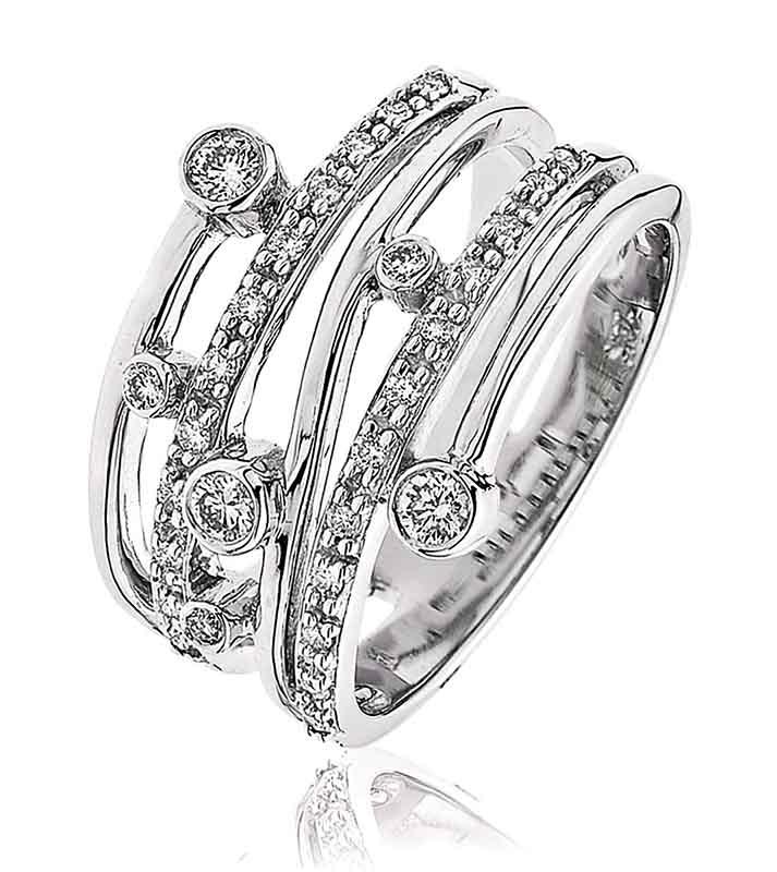 18ct White Gold Diamond Dress Ring-0
