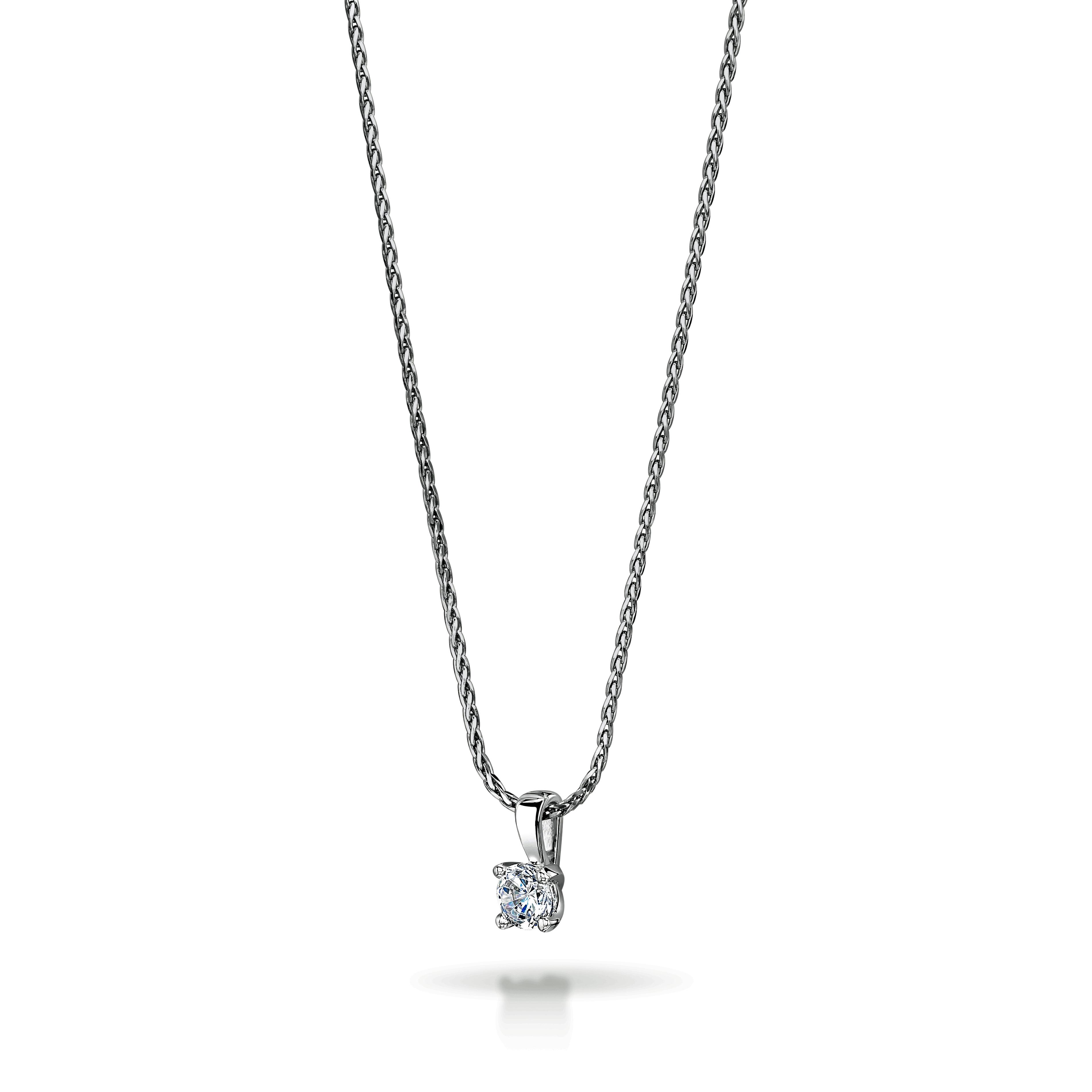 0.24ct 18ct White Gold Brilliant Cut Diamond Solitaire Pendant
