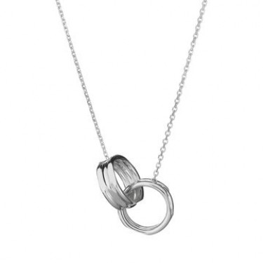 Links of London Silver Three Ring Interlocking Necklace-0