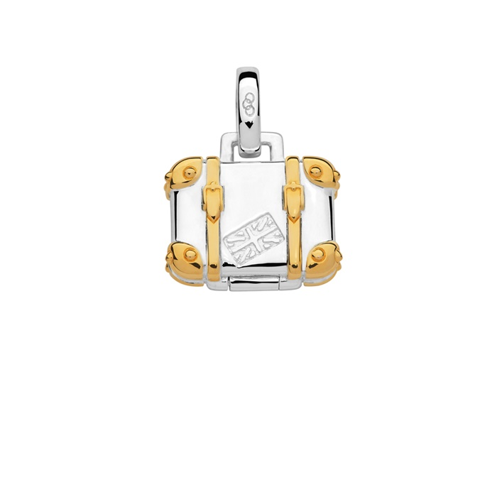 Links of London Sterling Silver & 18kt Yellow Gold Vermeil Suitcase Charm-0