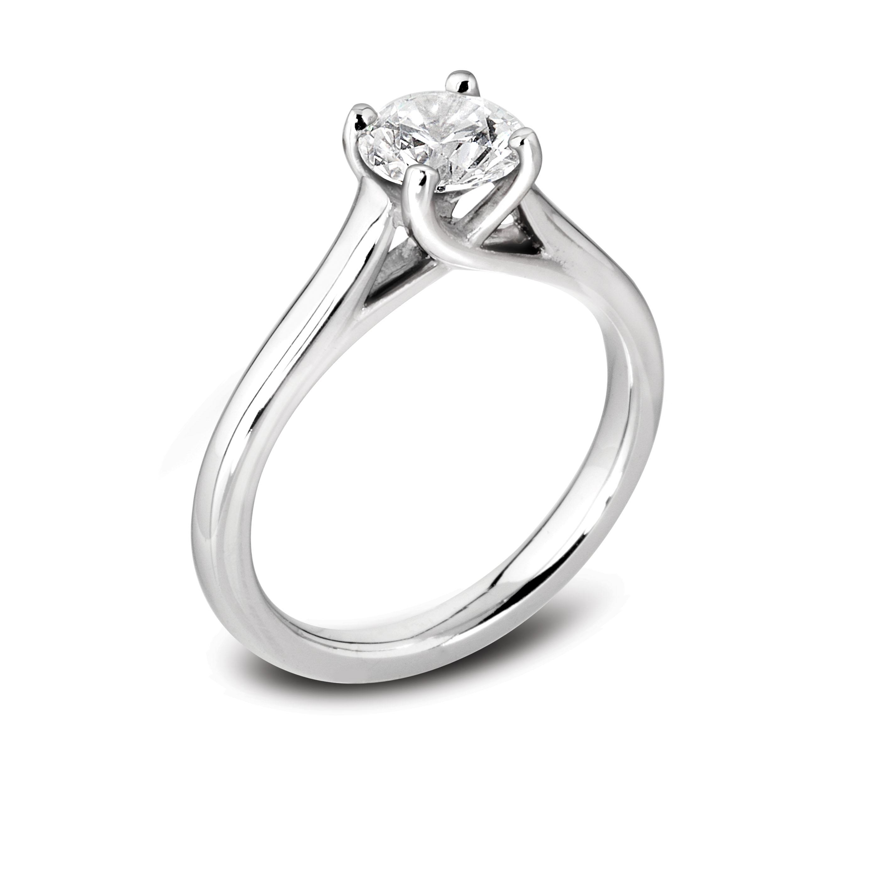 Brilliant Cut Diamond Solitaire Ring in 18ct White Gold